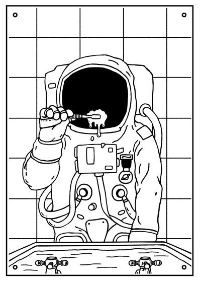 'Astro-Clean', astronaut brushing teeth, pop art, illustration.