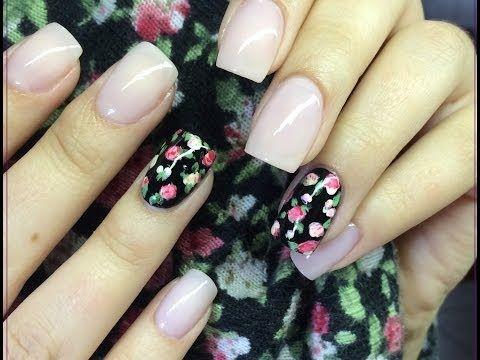 ▶ Facil diseño de uñas con rosas blancas y rojas - YouTube