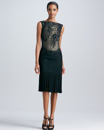 Lace Applique Cocktail Dress with Pleated Skirt by Tadashi Shoji at Neiman Marcus.