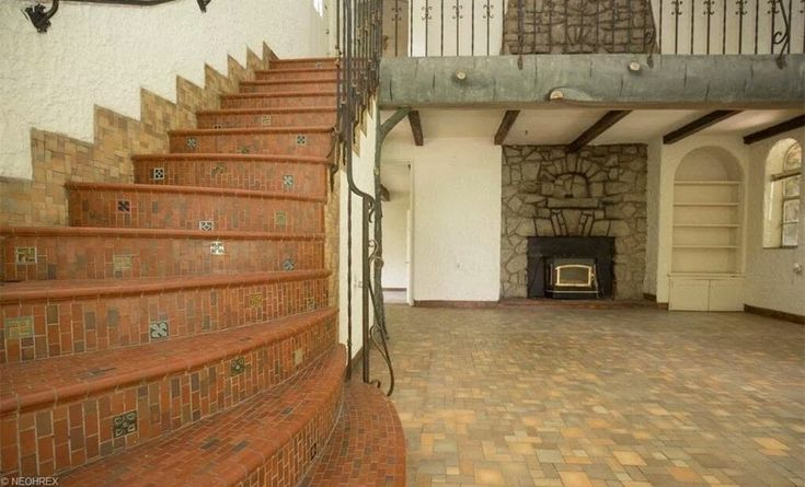 Amazing staircase within the castle. Whispering Pines castle in Rogers, OH