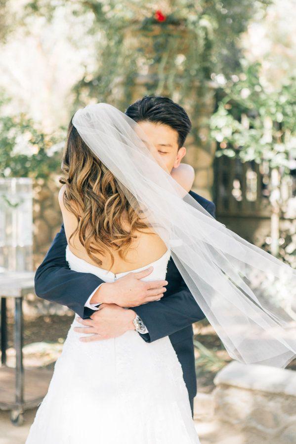 Adorable first look: http://www.stylemepretty.com/california-weddings/silverado/2016/05/10/whimsical-al-fresco-vineyard-wedding/   Photography: Jenna Bechtholt -  http://jennabechtholtphotography.pixieset.com/