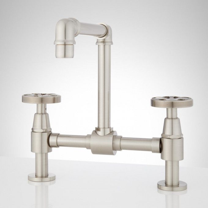 Edison Bridge Bathroom Faucet with Pop-Up Drain