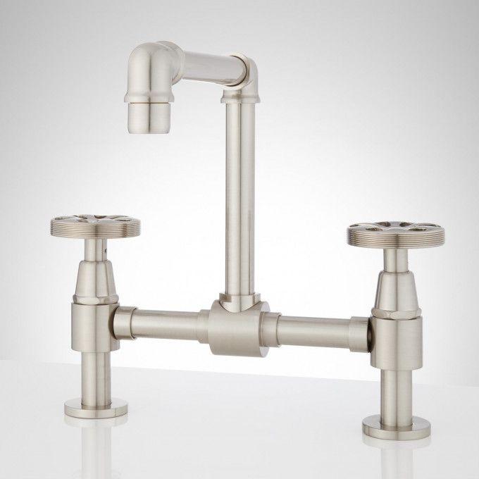 Edison Bridge Bathroom Faucet With Pop Up Drain In No Overflow In