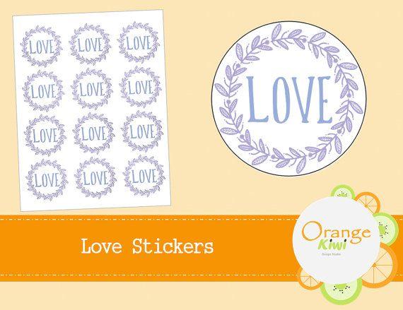 Love Stickers  Favor Jar Stickers  Floral by OrangeKiwiDesign