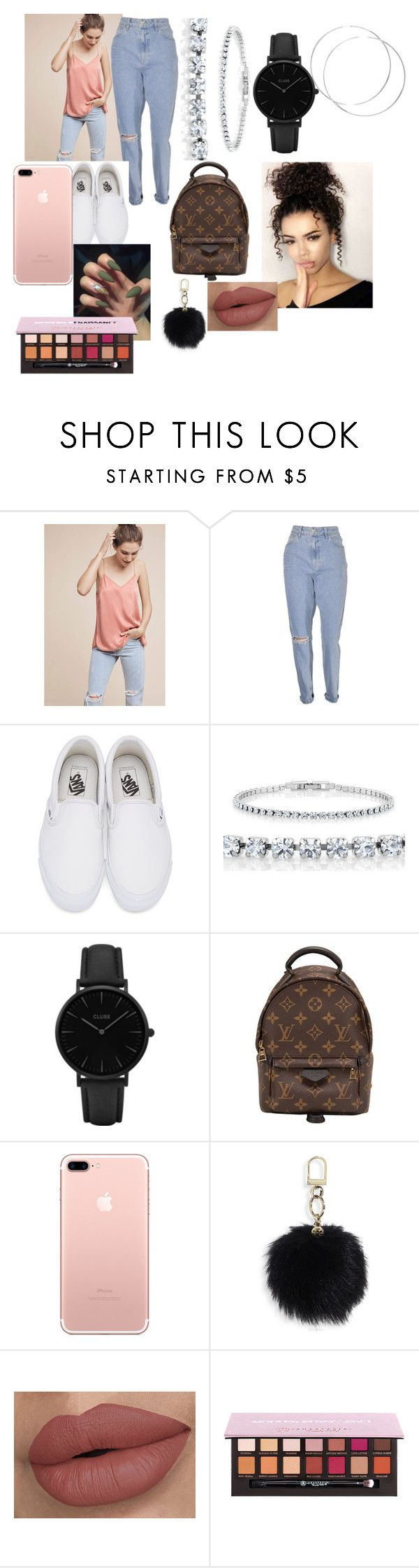 """""""Mom Jeans and Silk"""" by autumnjclark ❤ liked on Polyvore featuring ELOISE, Vans, CLUSE, Louis Vuitton and Tory Burch"""