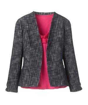 Coldwater Creek Linen Blend Tweed Jacket