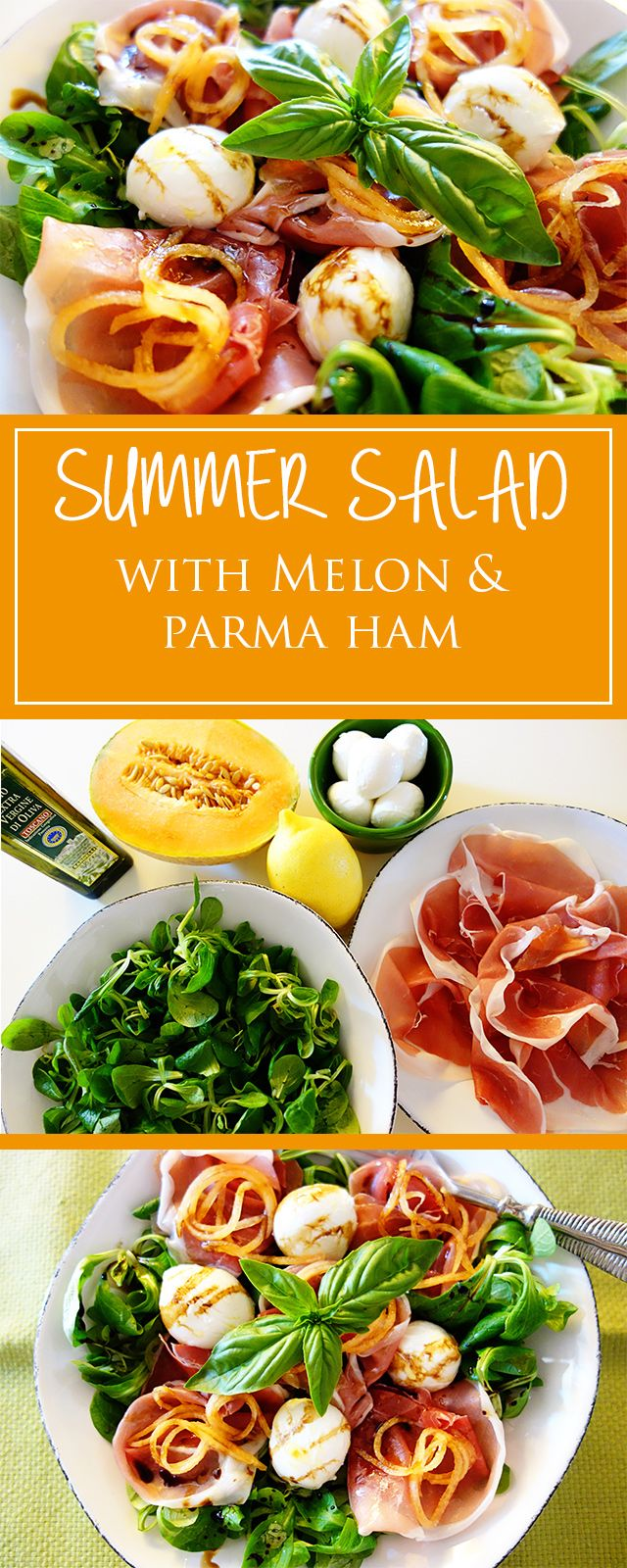 Summer salad with melon & parma ham - a simple & quick recipe for a light lunch/dinner. Moreover gluten-free, healthy & delicious!    cucina-con-amore.com