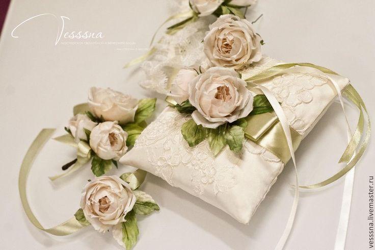 """Свадебные аксессуары """"Айвори"""" - белый,подушечка для колец,подушечка свадебная"""