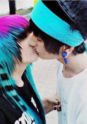 Cute emo couple kissing