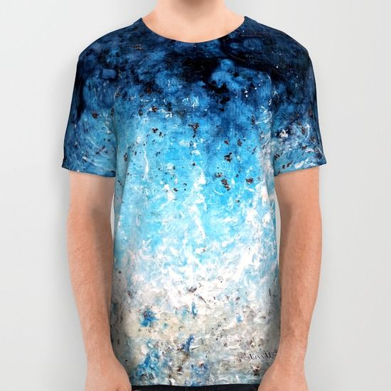 All over printed deep blue ocean inspired abstract unisex T-shirts for men and women by Vinn Wong | Full collection vinnwong.com | International Shipping | Visit the shop or Pin it For Later!