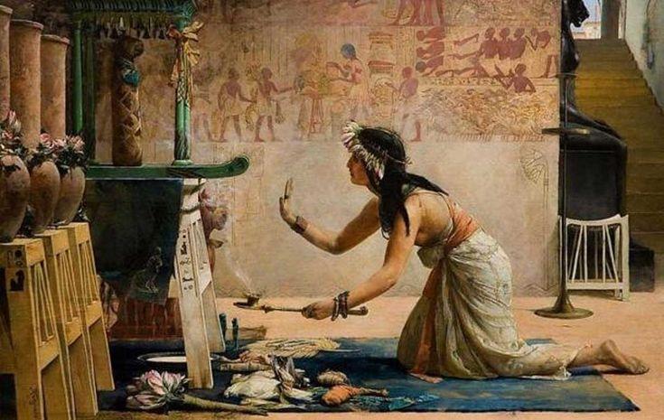 'Exequias de un gato egipcio', óleo de John Reinhard Weguelin, 1886. Una sacerdotisa egipcia realiza ofrendas de alimentos y leche al espíritu de un gato. (Wikimedia Commons)