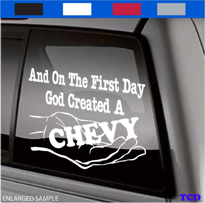 The gallery for funny chevy window decals for Window transfers
