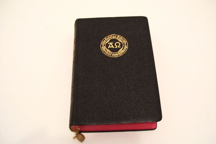 1961 German Bible Die Heilige Schrift Gold Lettering on Black Leather Cover