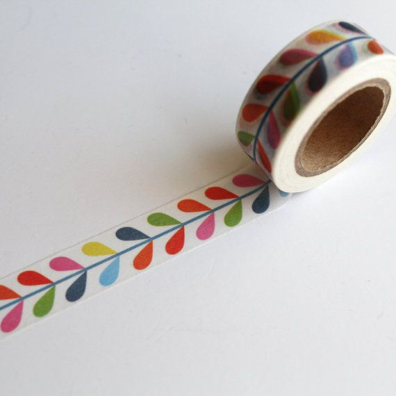 Orla Kiely inspired Pattern Washi Tape, gift wrap crafting tape Rainbow Washi tape