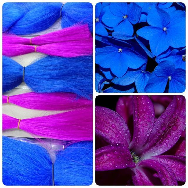 Blue and fuchsia color inspiration ~ RastAfri Rapunsel Braid in Cobalt Blue, She Devil kk jumbo braid in Royal Blue, and Anytime Collection kk silky in Neon Violet. 💐🌹💐🌹 All three (and more) are buy one, get one free at IKS until the end of the month.  She Devil's almost sold out, so grab it quick if you want it!  #hairextensions #kanekalon #rastafri #rapunsel #rapunselbraid #anytimecollection #modu #shedevil #shedevilbeauty #blue #pink #flowers #hair #braids
