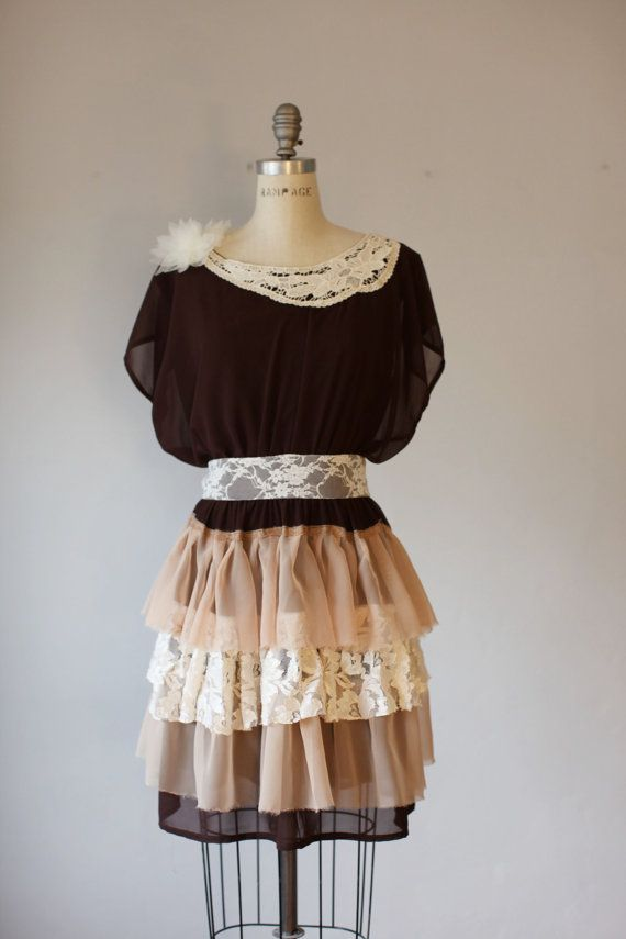 Upscale  dress DIY fashion ,bohemian vintage style,ooak romantic on Etsy, $135.00