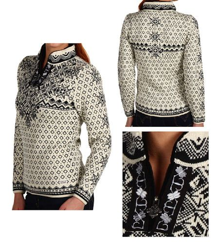 Dale of Norway Woman`s Bogstad Wool Sweater Style 9134 P in Natural and Black. woman's pullover sweater. Feminine fitted sweater of skin-soft, medium weight, Merino wool. Exceptional zipper pull, embroidered ribbon detail. Side logo patch. Fleece lined collar. Made in Norway.