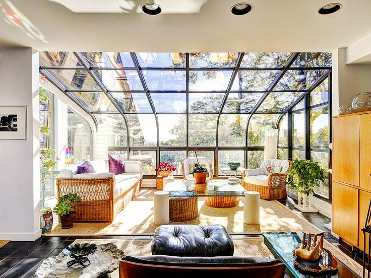 Glass ceiling in calming living room // Montauk vacation rental