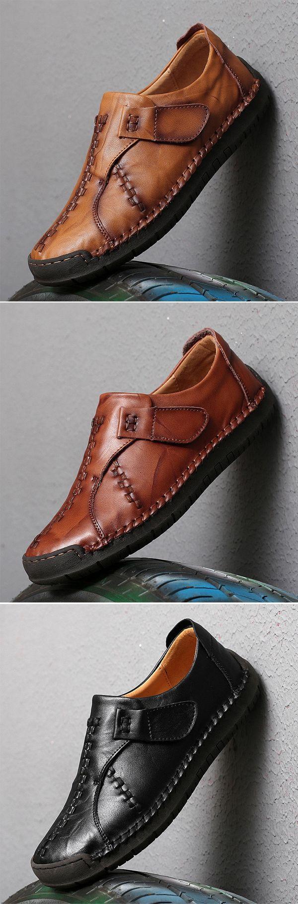 US$43.8 Men's Vintage Hand Stitcing Hook-Loop Genuine Leather Loafers