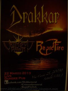 Metal On The Road: Drakkar + Crimson Dawn + Rapid Fire @ Dundee Pub (Caleppio di Settala /MI/) 22.03.2013