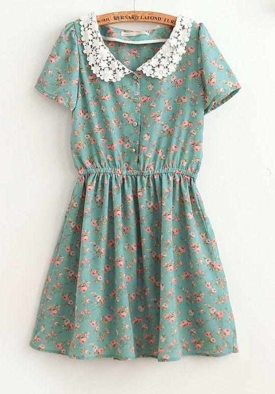 Blue Flowers Turndown Collar Above Knee Chiffon Dress