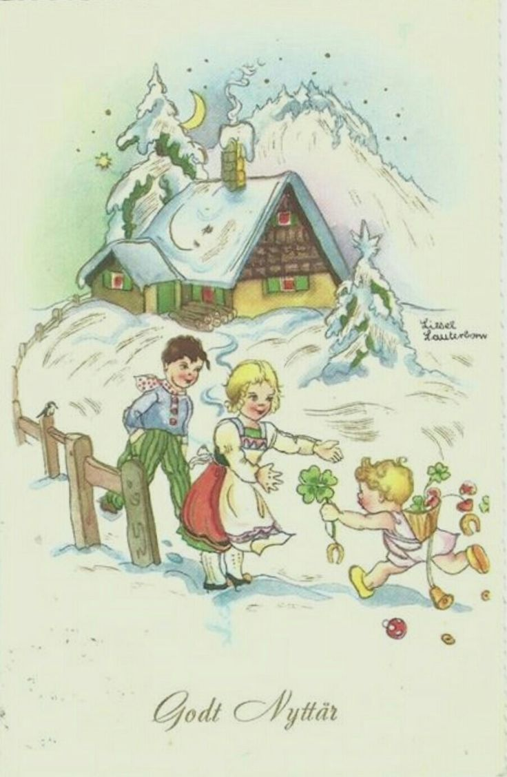 Nyttårskort brukt 1962 signert Liesel Lanterbohm.