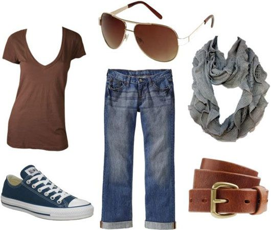 Jennifer Aniston casual outfit 3 - Loose jeans, v-neck tee, scarf, belt, converse, aviators; I love all of the outfits in this post!
