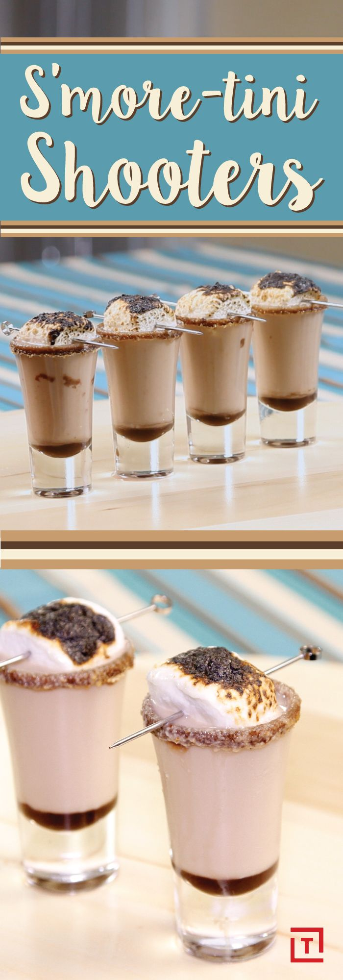 Bring out the fiery, smokey flavor of our favorite campfire treat with these chocolatey s'more-tini shooters. Chocolate liqueur and vodka are combined in a shot glass that's rimmed with chocolate syrup and dipped in crushed graham cracker, then topped off with a roasted marshmallow for a shot you actually want to take.