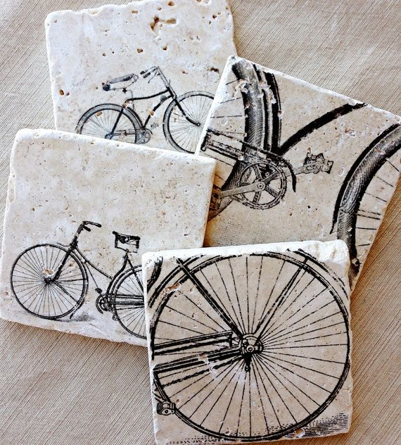 Bike Coasters for the cyclist. Featuring vintage bicycle drawings that will add useful bike decor to the home. Stone bike coasters make a great gift