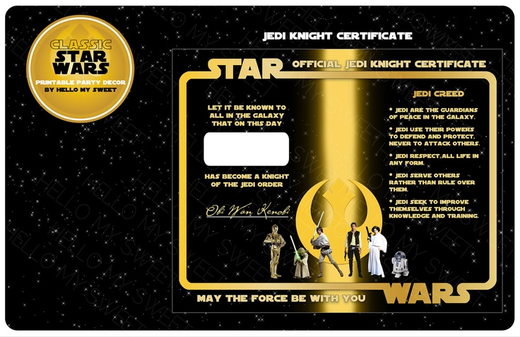 jedi training certificate star wars classic star wars party favor gold black yellow