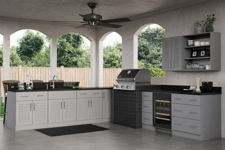 Ideal Cabinetry Adds Rustic Gray To Its Outdoor Polymer Cabinets Woodworking Network Outdoor Kitchen Cabinetry Woodworking School