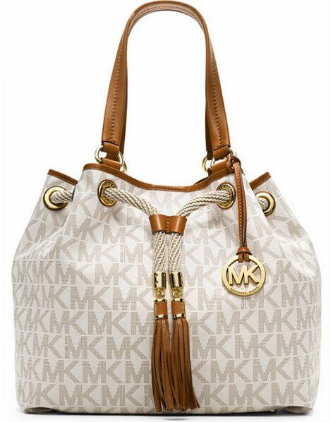 Michael Kors Drawstring Large White Shoulder Bag