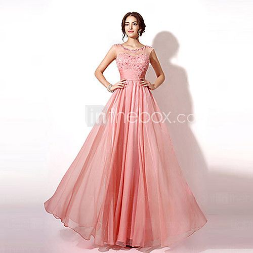 Formal Evening Dress - Pearl Pink / Royal Blue Plus Sizes / Petite A-line Bateau Floor-length - USD $89.99