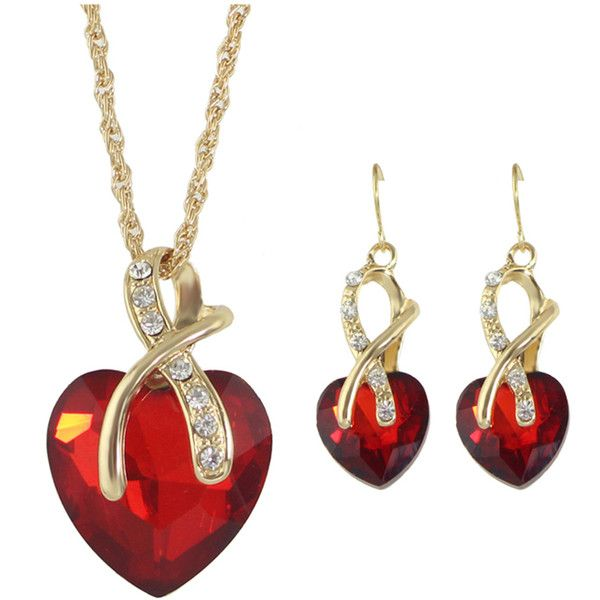Red New Colorful Rhinestone Heart Shape Pendant Necklace Earrings Set ($5.99) ❤ liked on Polyvore featuring jewelry, pendants, multicolor jewelry, red jewellery, multi color jewelry, red pendant necklace and tri color jewelry