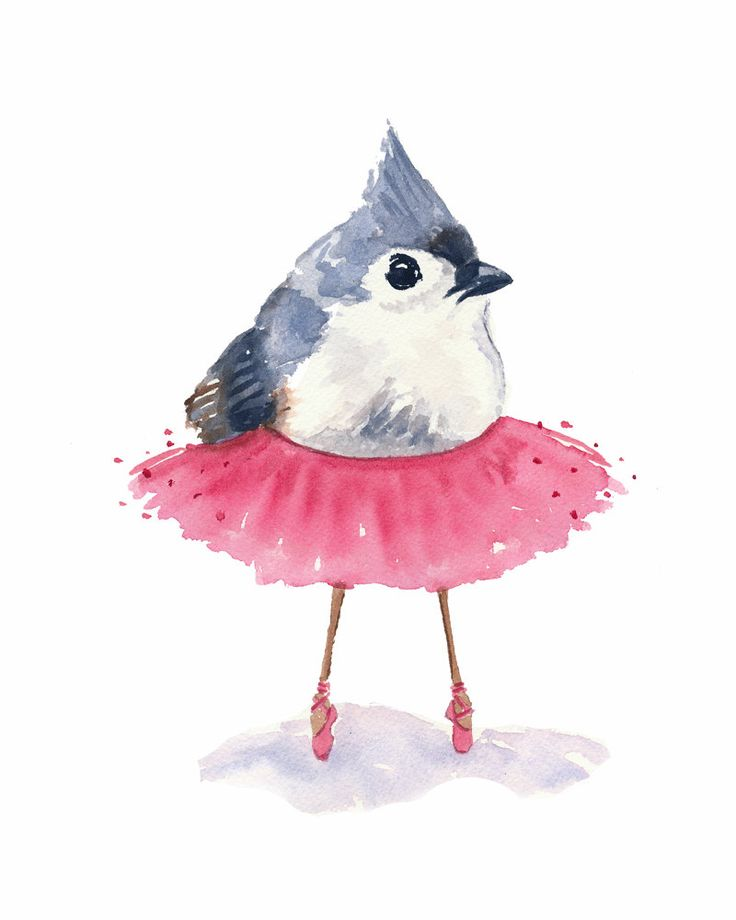 Ballet Bird Watercolor Print  Tufted Titmouse by WaterInMyPaint, $10.00