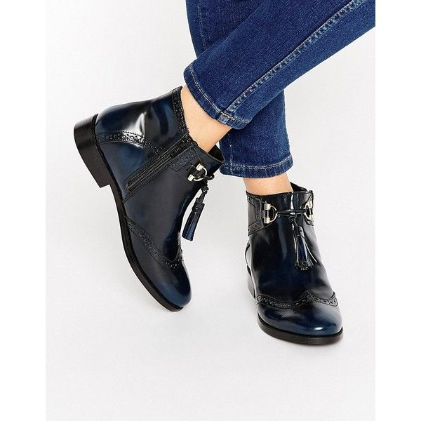 ASOS ALYA Leather Tassel Ankle Boots (£55) ❤ liked on Polyvore featuring shoes, boots, ankle booties, navy, leather bootie, leather ankle boots, tassel booties, short boots and navy ankle boots