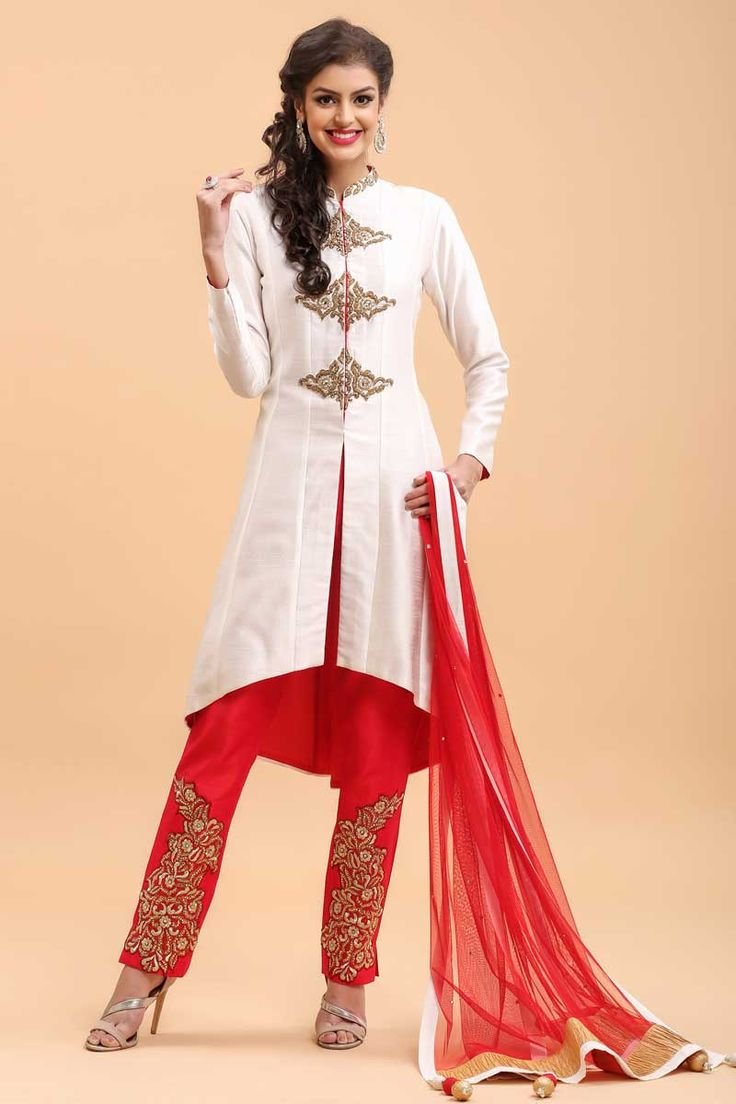 White and Red Trouser Suit  http://www.andaazfashion.co.uk/salwar-kameez/trouser-suits/white-and-red-trouser-suit-1680.html