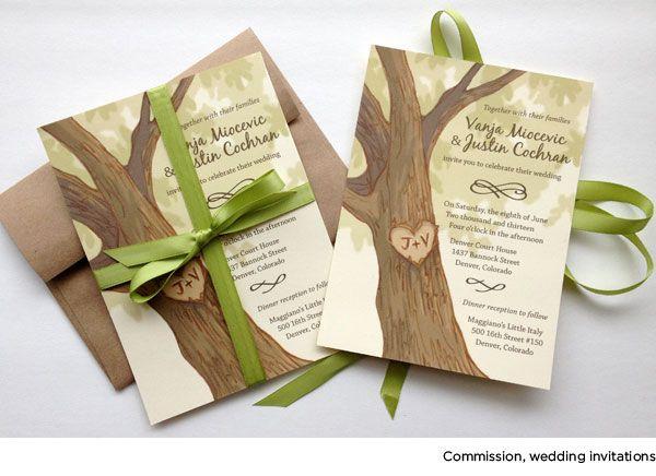 Tree wedding invitation with ribbon