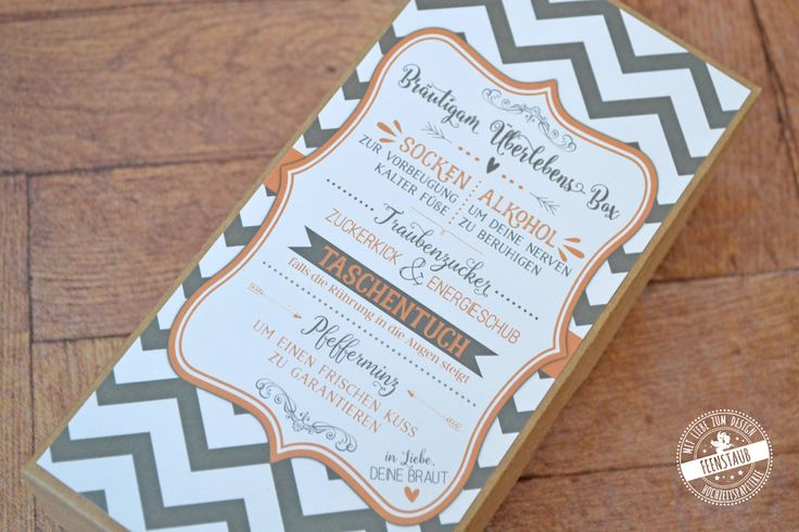 Bräutigambox, Geschenk für den Bräutigam, Socken für den Bräutigam gegen kalte Füße zur Hochzeit, Zeremonie, Kirchenheft, Trauungsprogramm - Feenstaub.at