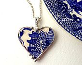 Broken china jewelry heart shaped necklace pendant antique blue willow tree and pagoda