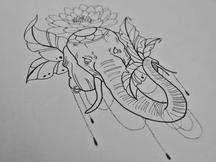 By Irina Vinogradova  Elephant  art drawing black sketch dotwork