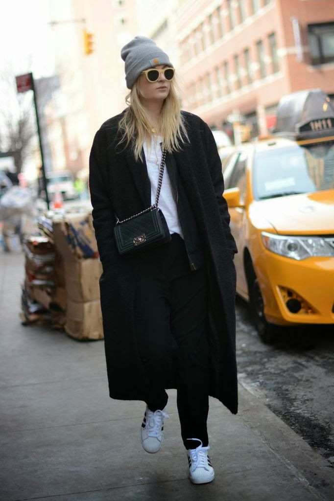 Lala Berlin coat, Carhratt beanie, Adidas sneaks
