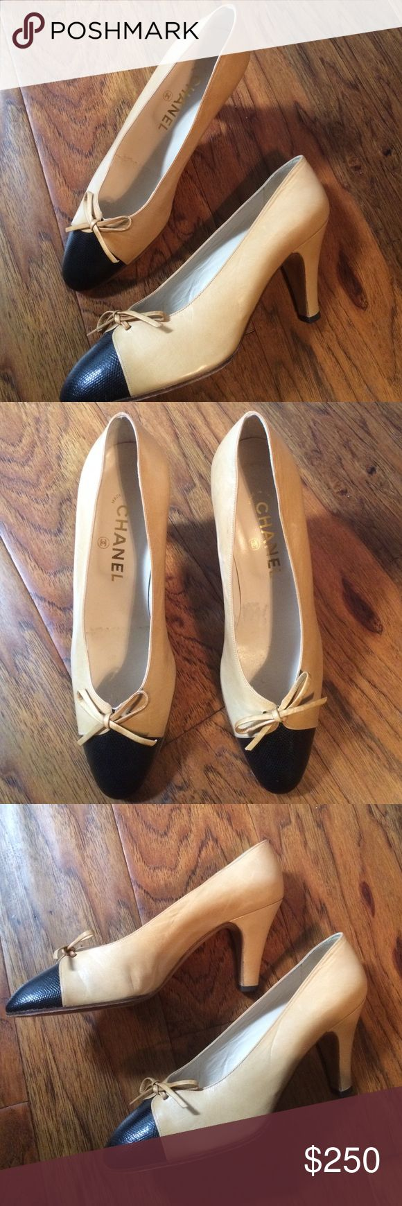 Chanel Vintage Two Toned Heels Beautiful tan leather heels with black textured leather across the toe and adorable bows. Light wear, great condition with only a tiny scuff on the left heel( see pic).  Authentic. Made in Italy. Chanel Shoes Heels