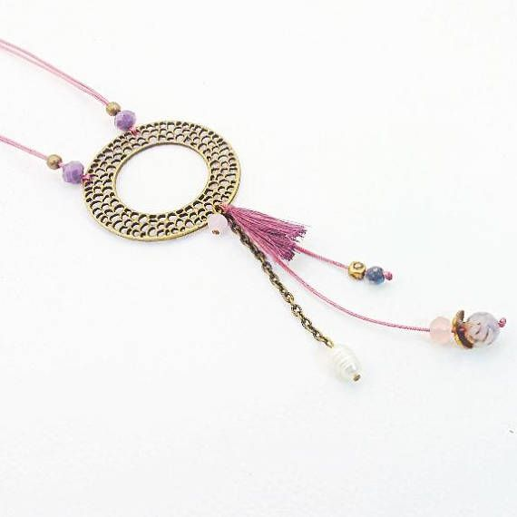 Boho chic Necklace in shades of dusky pink Romantic Necklace