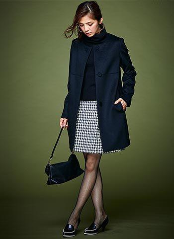 千鳥格子スカートでいつものスーツに変化を♪ビジネススーツスカートのコーデ、スタイル・ファッションの参考に♪