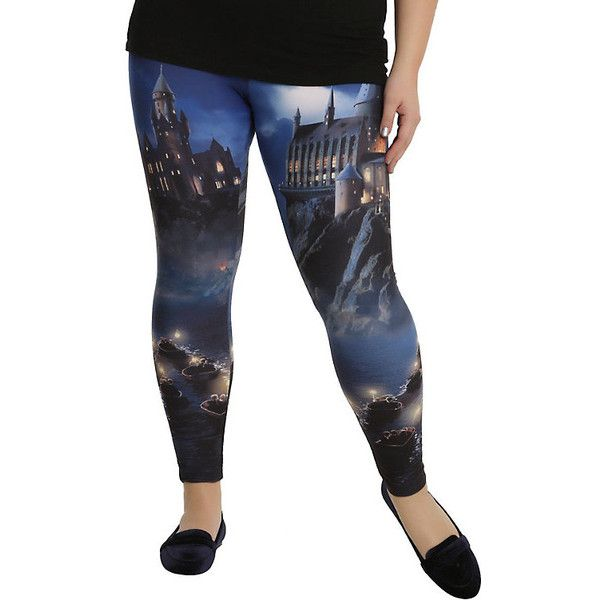 Harry Potter Hogwarts Leggings Plus Size ❤ liked on Polyvore featuring pants, leggings, white leggings, plus size white leggings, women's plus size pants, plus size trousers and white legging pants