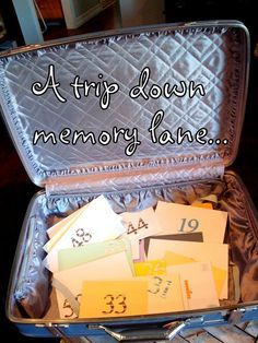 A trip down memory lane party... a suitcase filled with memories emailed from friends... Cute idea for wedding