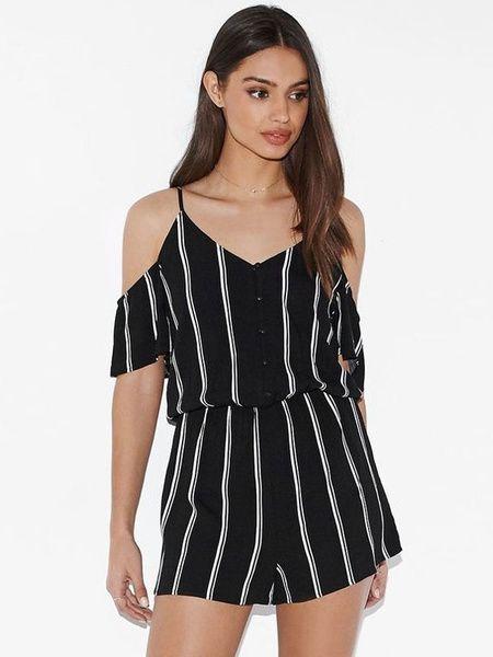 Women's Black Rompers Women's Spaghetti Straps Short Sleeve Cold Shoulder Stripes Summer Jumpsuit