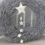 Strickplaid STAR gestrickte Decke Plaid mit Stern grau weiß 130x180cm