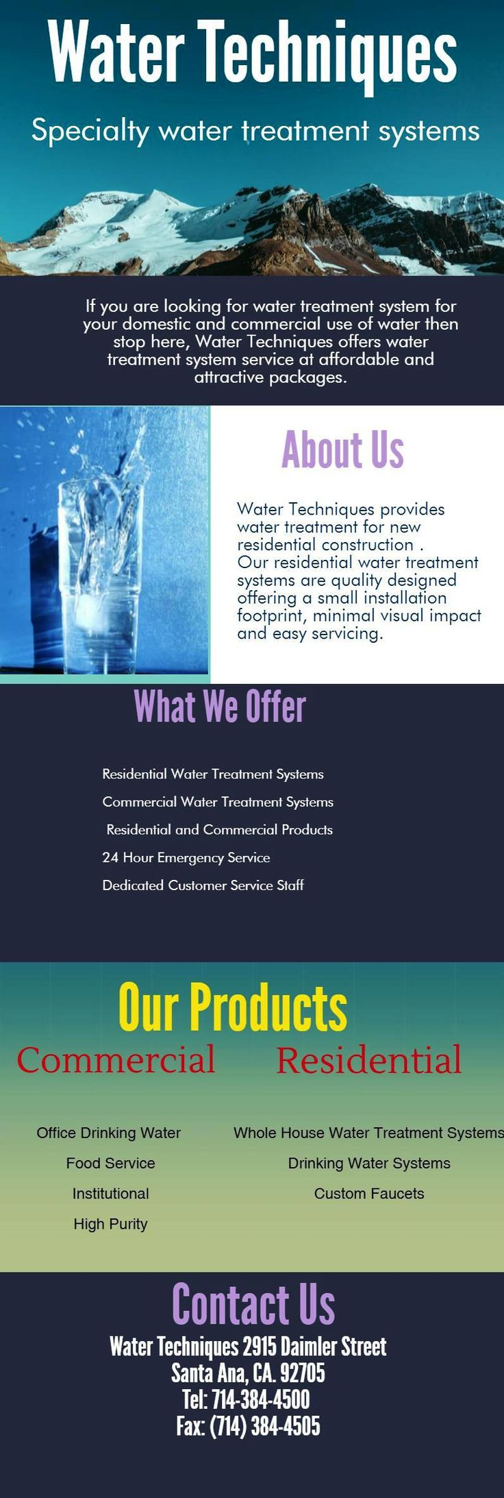 Water Techniques offers smart solutions to remove impurities from home water. We offer a free water test so you can find the best system for your needs. Water Techniques is the #1 rated home water treatment systems provider as well as commercial water treatment systems.